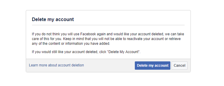 delete facebook account