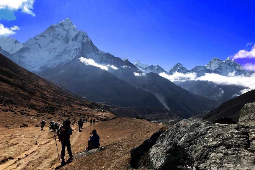 Trekkers in everest base camp trek